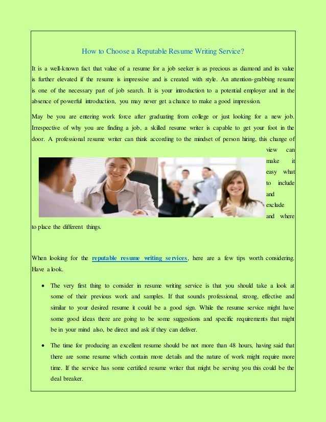 How to Choose a Reputable Resume Writing Service