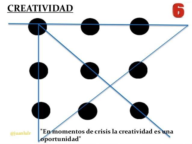 """CREATIVIDAD  @juanlulr  """"En momentos de crisis la creatividad es una oportunidad"""""""