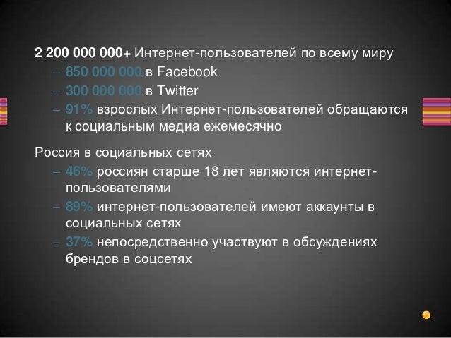 2 200 000 000+ Интернет-пользователей по всему миру   – 850 000 000 в Facebook   – 300 000 000 в Twitter   – 91% взрослых ...