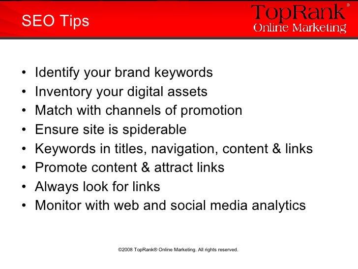 <ul><li>Identify your brand keywords </li></ul><ul><li>Inventory your digital assets </li></ul><ul><li>Match with channels...