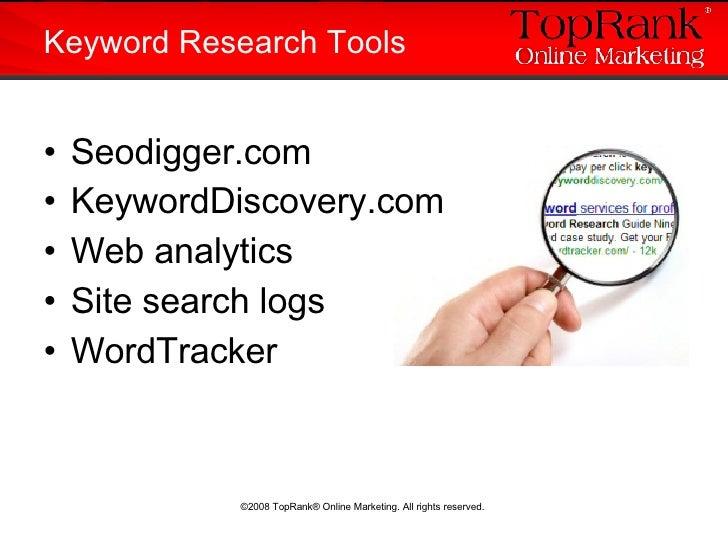 <ul><li>Seodigger.com </li></ul><ul><li>KeywordDiscovery.com </li></ul><ul><li>Web analytics  </li></ul><ul><li>Site searc...