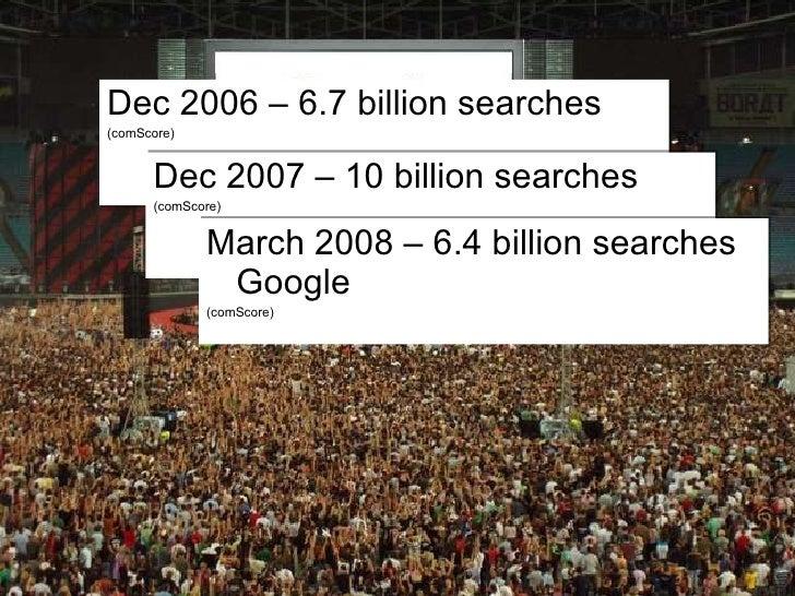 Dec 2006 – 6.7 billion searches (comScore) Dec 2007 – 10 billion searches (comScore) March 2008 – 6.4 billion searches Goo...