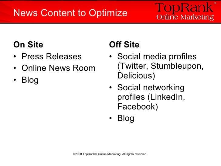 <ul><li>On Site </li></ul><ul><li>Press Releases </li></ul><ul><li>Online News Room </li></ul><ul><li>Blog </li></ul>News ...