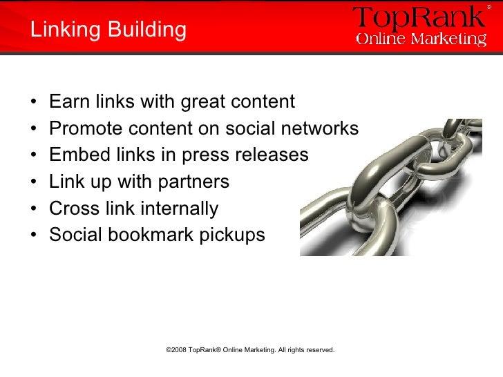 <ul><li>Earn links with great content </li></ul><ul><li>Promote content on social networks </li></ul><ul><li>Embed links i...