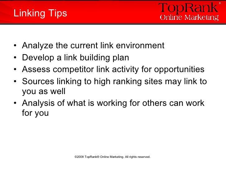 <ul><li>Analyze the current link environment </li></ul><ul><li>Develop a link building plan </li></ul><ul><li>Assess compe...