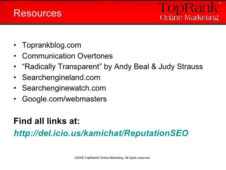 "<ul><li>Toprankblog.com </li></ul><ul><li>Communication Overtones </li></ul><ul><li>"" Radically Transparent"" by Andy Beal ..."