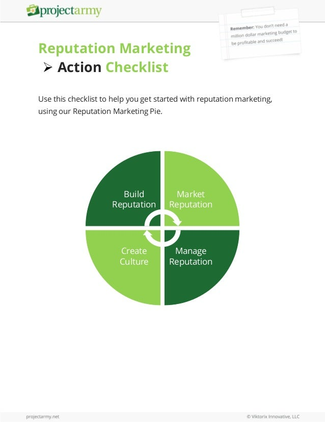 Reputation Marketing  Action Checklist Use this checklist to help you get started with reputation marketing, using our Re...