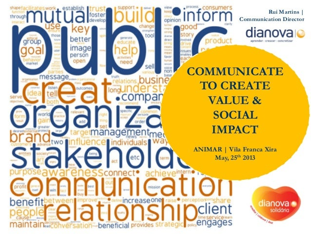 Rui Martins | Communication Director COMMUNICATE TO CREATE VALUE & SOCIAL IMPACT ANIMAR | Vila Franca Xira May, 25th 2013