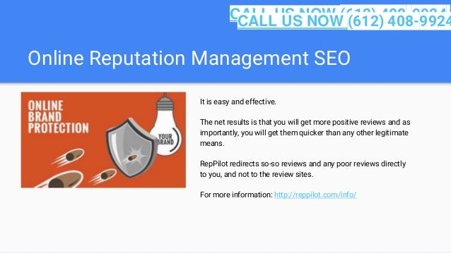 Online Reputation Management SEO It is easy and effective. The net results is that you will get more positive reviews and ...