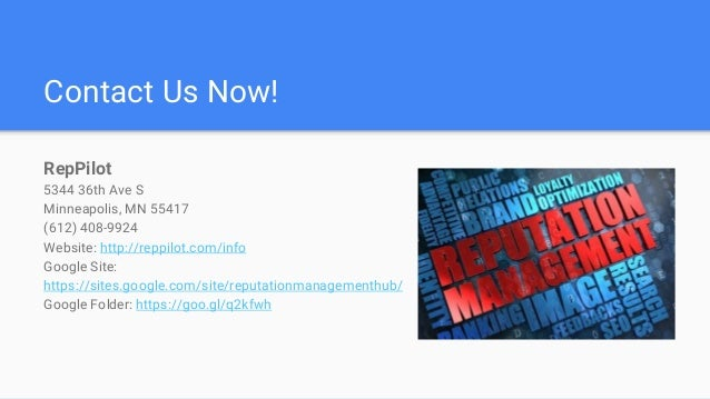 Contact Us Now! RepPilot 5344 36th Ave S Minneapolis, MN 55417 (612) 408-9924 Website: http://reppilot.com/info Google Sit...