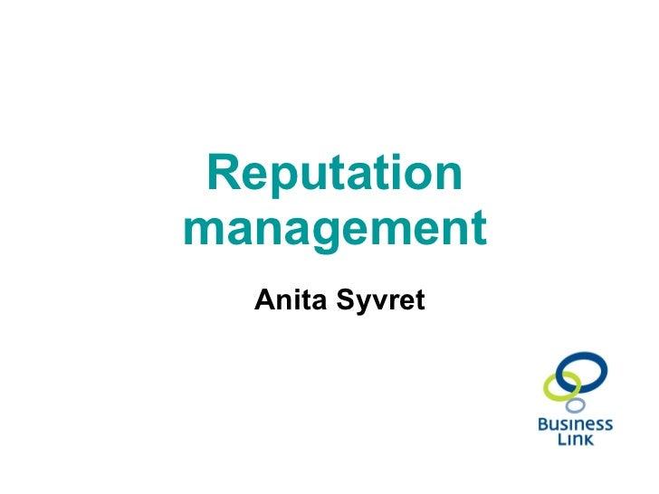 Reputation management Anita Syvret