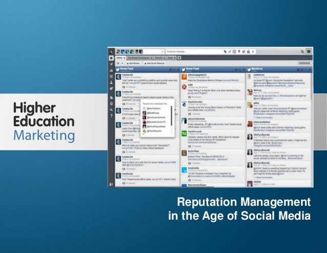 Reputation Management in the Age of Social Media Slide 1 Reputation Management in the Age of Social Media