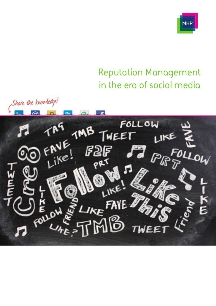 Reputation Managementin the era of social media