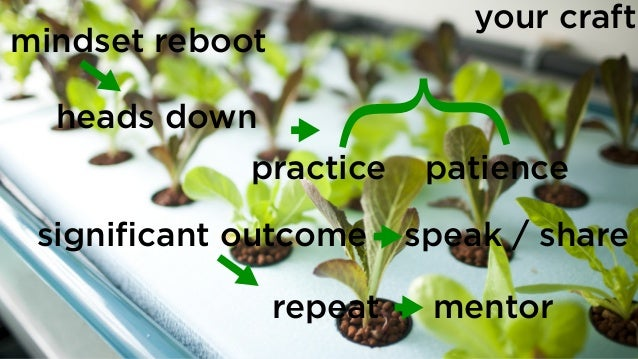mindset reboot heads down practice significant outcome repeat speak / share } patience mentor your craft