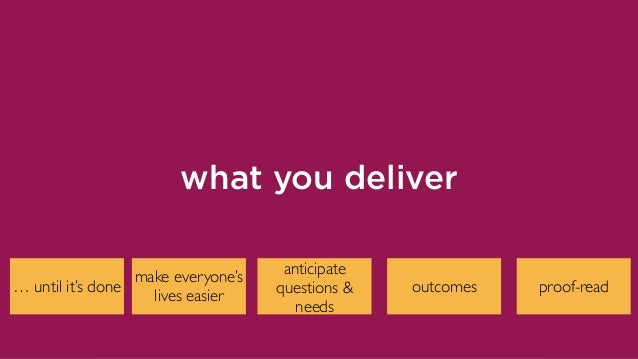 proof-read what you deliver outcomes anticipate questions & needs make everyone's lives easier … until it's done