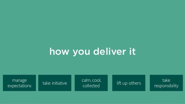 how you deliver it calm, cool, collected take initiative manage expectations take responsibility lift up others