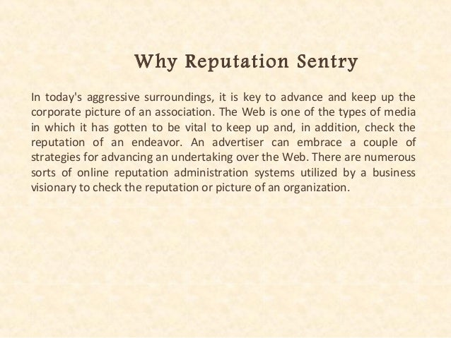 Reputation Sentry For Online Reputation Development Slide 2