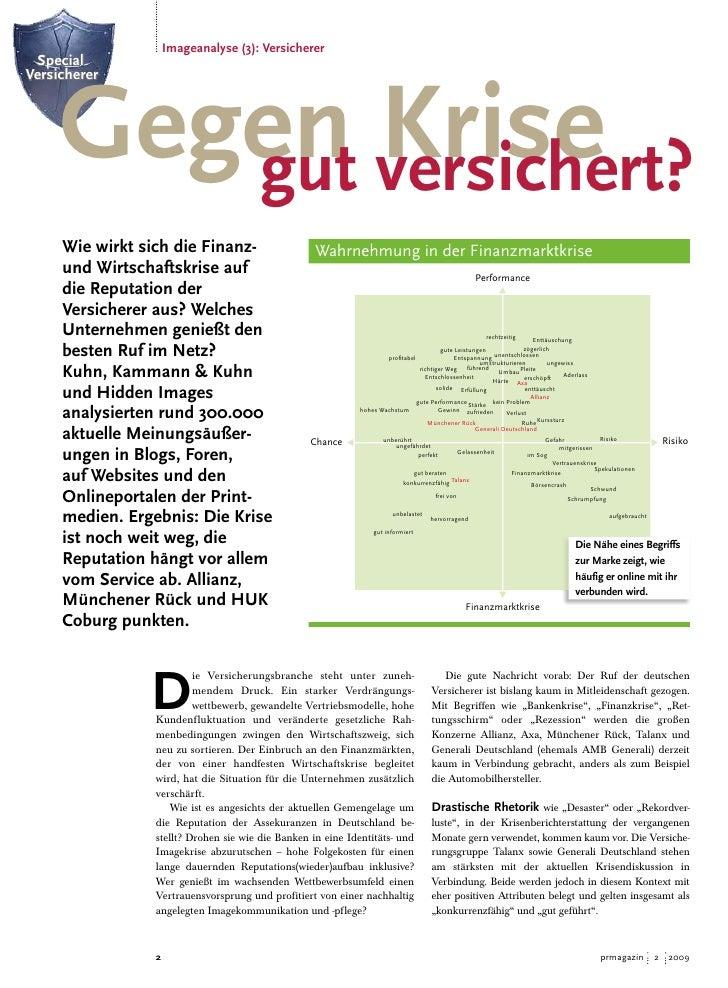 Imageanalyse (3): Versicherer  Special          Gegen versichert?             Krise Versicherer             gut      Wie w...