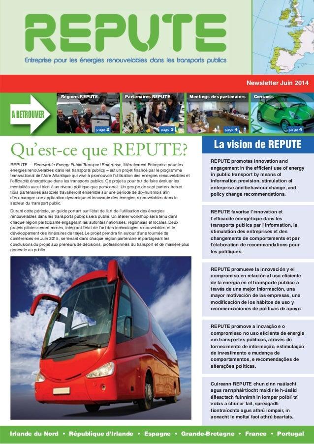 Newsletter Juin 2014  Régions REPUTE Partenaires REPUTE Meetings des partenaires Contacts  page 2 page 3 page 4 page 4  La...
