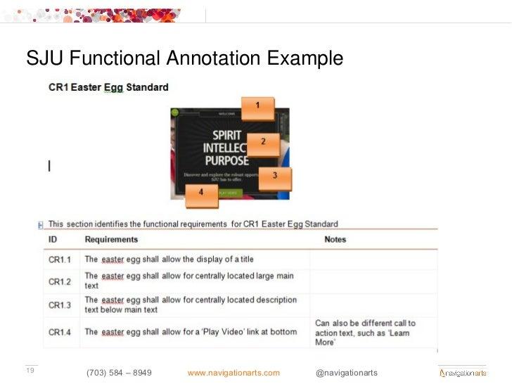 SJU Functional Annotation Example19    (703) 584 – 8949   www.navigationarts.com   @navigationarts