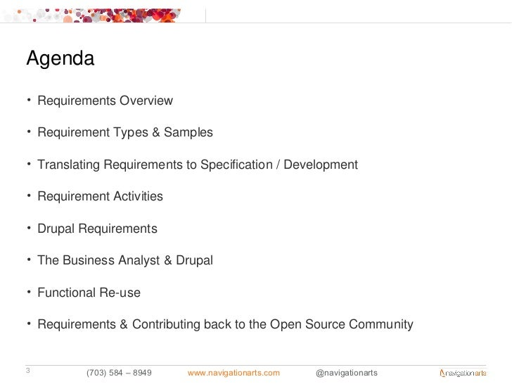 Agenda• Requirements Overview• Requirement Types & Samples• Translating Requirements to Specification / Development• Requi...