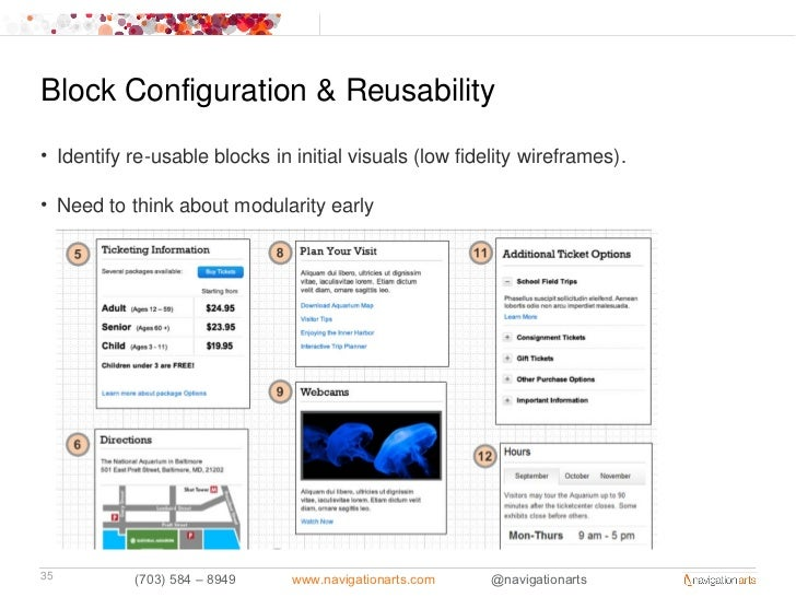Block Configuration & Reusability• Identify re-usable blocks in initial visuals (low fidelity wireframes).• Need to think ...