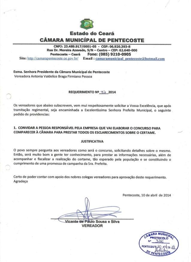 Requerimento 037/2014 do Vereador Vicente do Zuza