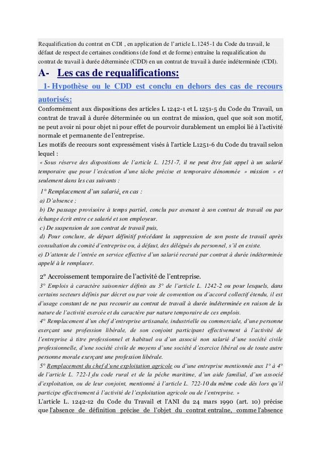 Requalification Du Contrat En Cdi