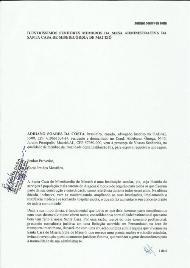 MlIÍñlH) S031' CS da costa  ILUSTRÍSSIMOS SENHORES MEMBROS DA MESA ADMINISTRATIVA DA SANTA CASA DE MISERICORDIA DE MACEIÓ ...