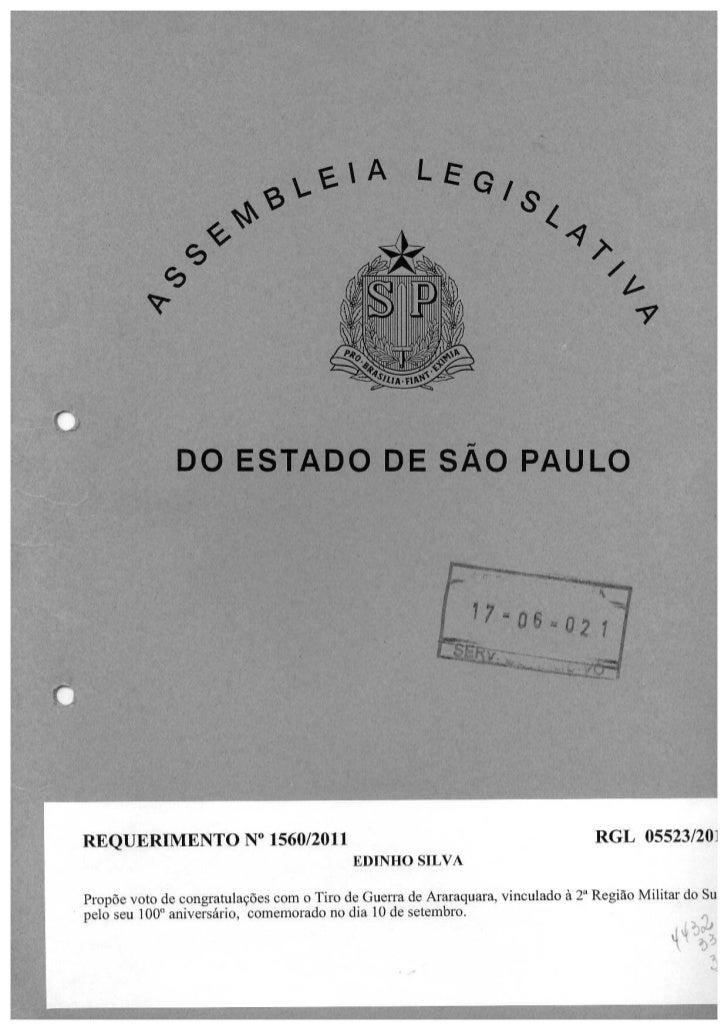 Requerimento solicitando voto de congratulações com o Tiro de Guerra de Araraquara