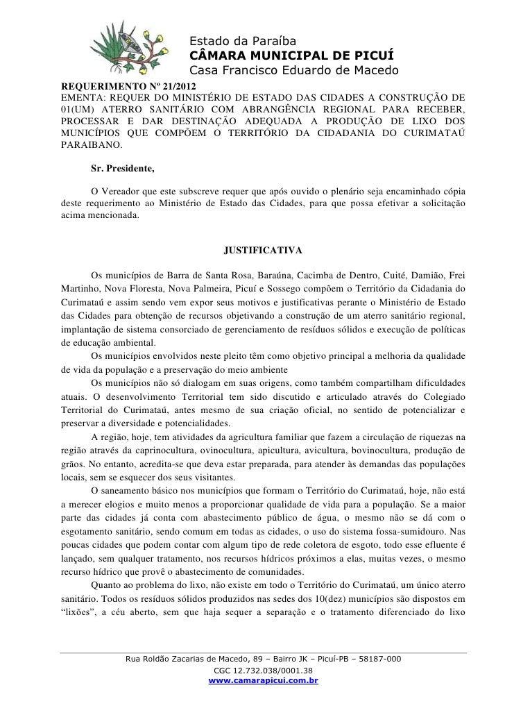 Estado da Paraíba                               CÂMARA MUNICIPAL DE PICUÍ                               Casa Francisco Edu...