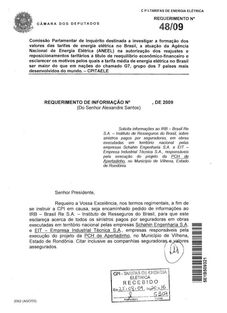 c P I-TARIFAS DE ENERGIA ELETRICA                                                                          REQUERIMENTO N°...
