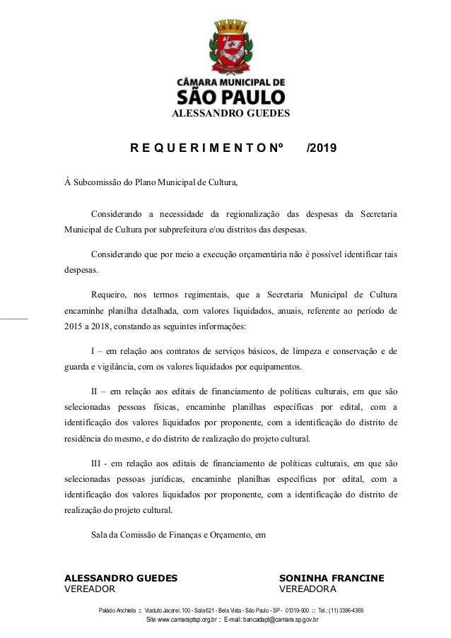 ALESSANDRO GUEDES Palácio Anchieta :: Viaduto Jacareí, 100 - Sala 621 - Bela Vista - São Paulo - SP - 01319-900 :: Tel.: (...