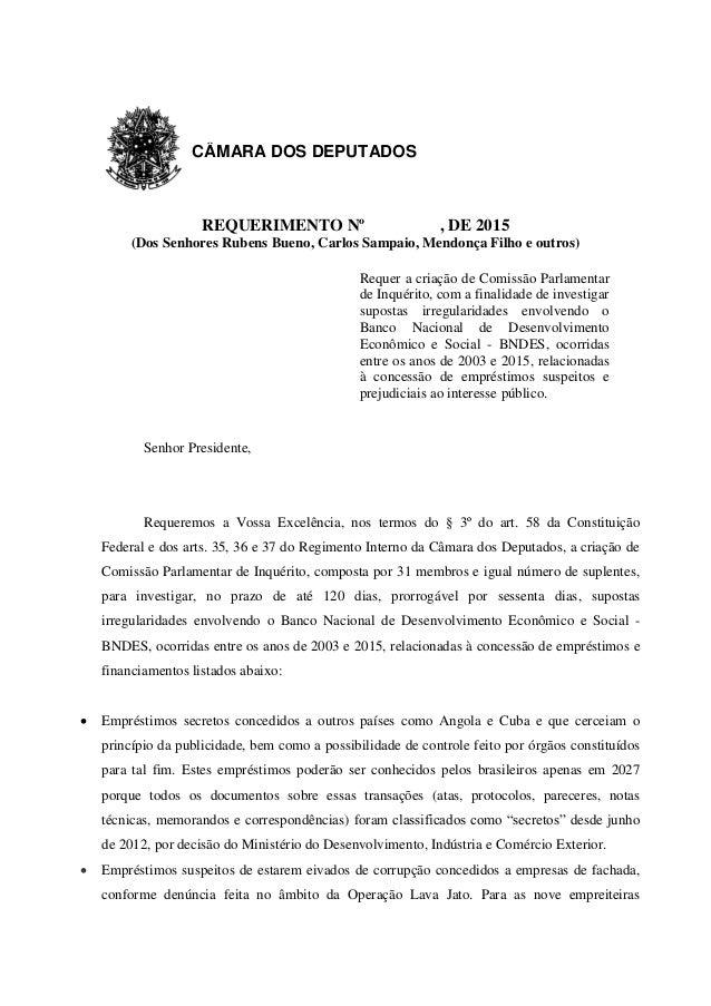 REQUERIMENTO Nº , DE 2015 (Dos Senhores Rubens Bueno, Carlos Sampaio, Mendonça Filho e outros) Requer a criação de Comissã...
