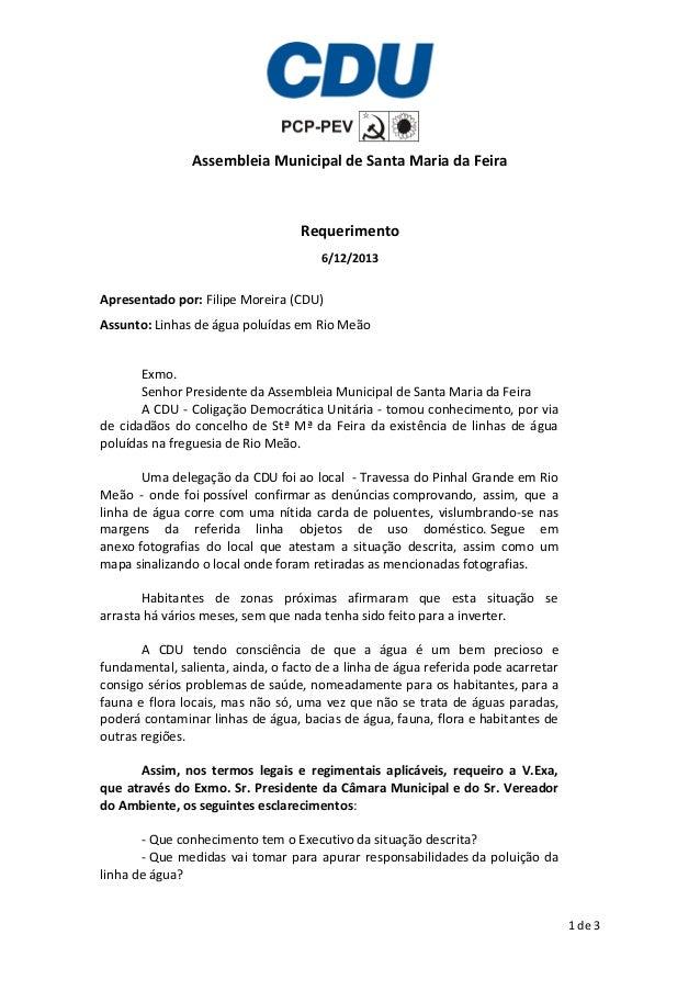 Assembleia Municipal de Santa Maria da Feira  Requerimento 6/12/2013  Apresentado por: Filipe Moreira (CDU) Assunto: Linha...