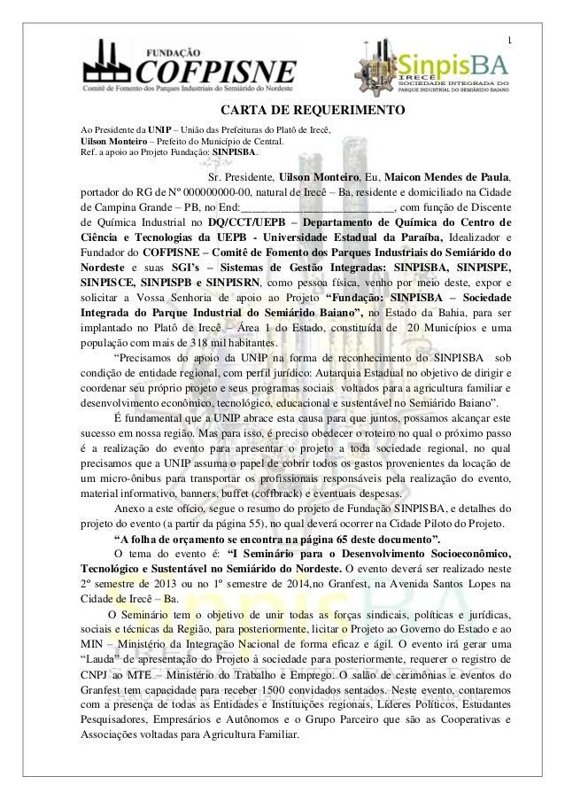 1  CARTA DE REQUERIMENTO Ao Presidente da UNIP – União das Prefeituras do Platô de Irecê, Uilson Monteiro – Prefeito do Mu...
