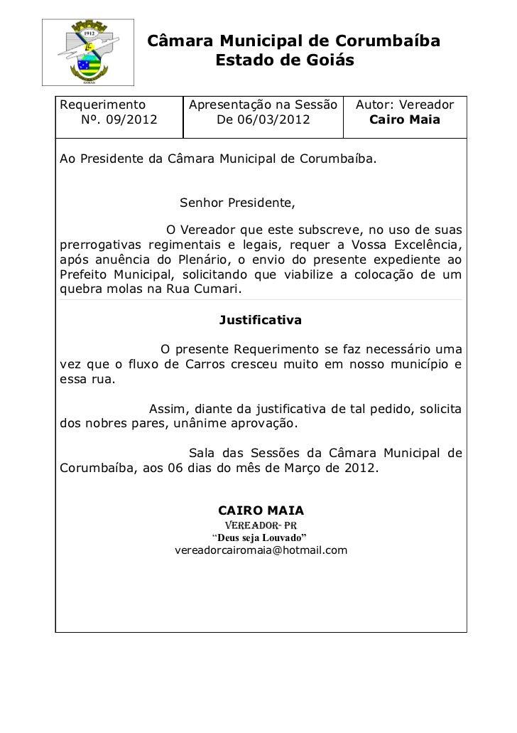 Câmara Municipal de Corumbaíba                    Estado de GoiásRequerimento         Apresentação na Sessão        Autor:...