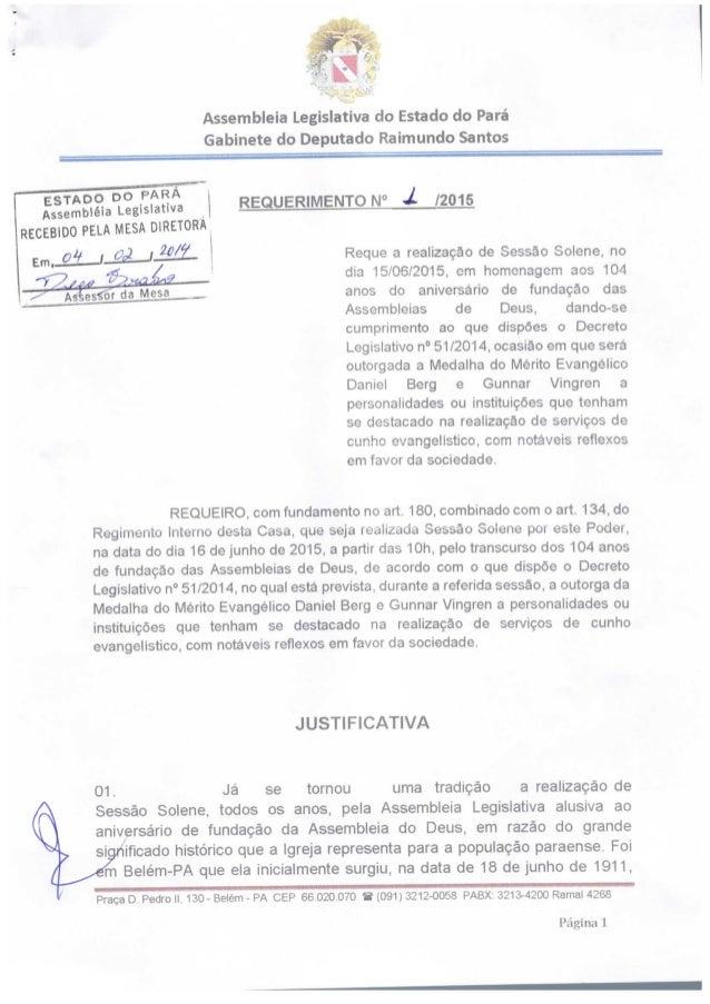 c¡          Assembleia Legislativa do Estado do Pará  Gabinete do Deputado Raimundo Santos          ESTADO oo _PARÁ Assemb...