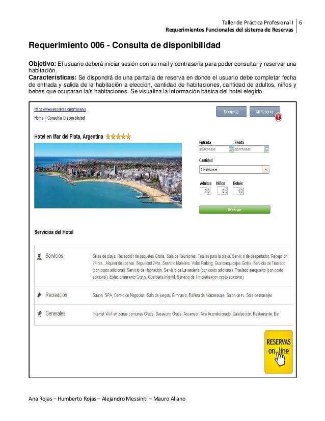 Requerimientos funcionales de un sistema de reservas for Como reservar una habitacion en un hotel