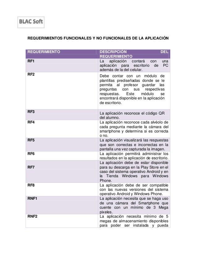 Requerimientos funcionales y no funcionales de la aplicación