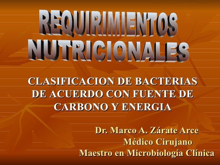 Dr. Marco A. Zárate Arce Médico Cirujano Maestro en Microbiología Clínica REQUIRIMIENTOS NUTRICIONALES CLASIFICACION DE BA...