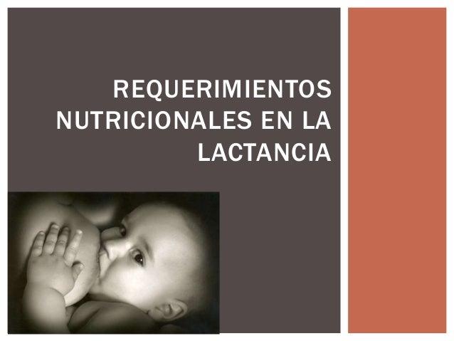 Requerimientos nutricionales en la lactancia