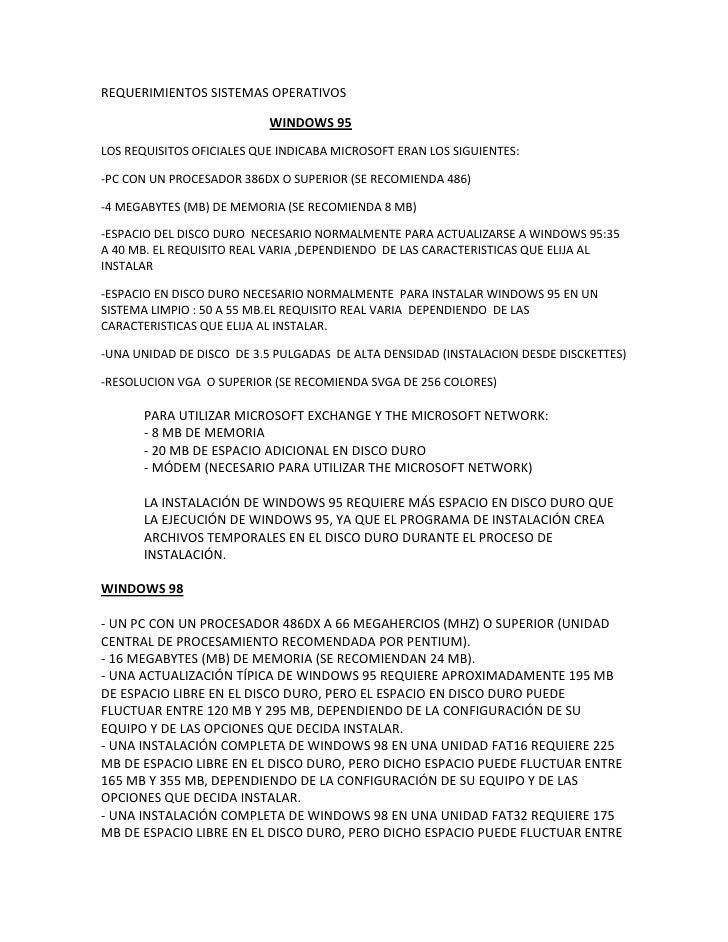 REQUERIMIENTOS SISTEMAS OPERATIVOS<br />WINDOWS 95<br />LOS REQUISITOS OFICIALES QUE INDICABA MICROSOFT ERAN LOS SIGUIENTE...