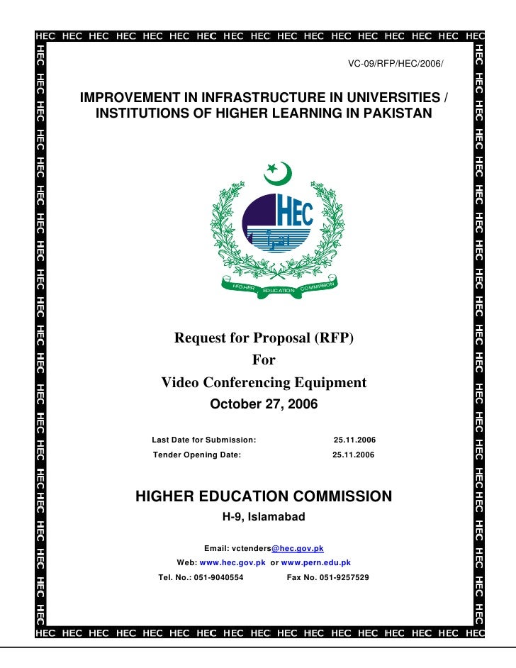 VC-09/RFP/HEC/2006/   IMPROVEMENT IN INFRASTRUCTURE IN UNIVERSITIES /   INSTITUTIONS OF HIGHER LEARNING IN PAKISTAN       ...