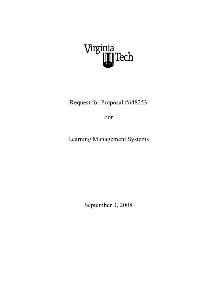 Request For Proposal For Learning Management Systems