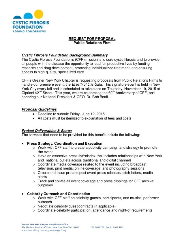 Cystic fibrosis foundation request for proposal public for Public relations agreement template