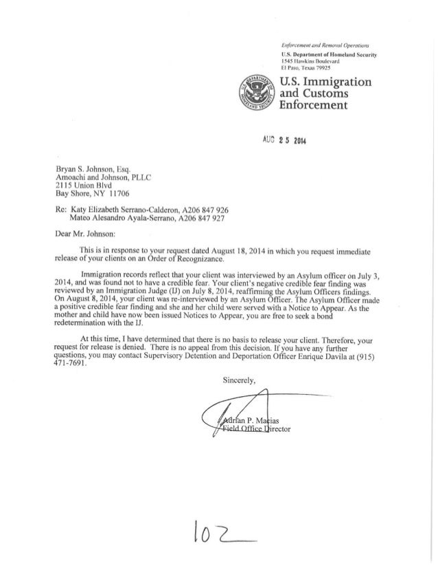 Euforcemcul and Removal Operations  US.  Department of Homeland Security 1545 llawkins Boulevard El Paso,  Texas 79925  U....