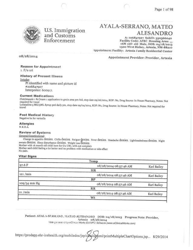 Page 1 of 98  AYALA-SERRANO,  MATEO US.  Immigration ALESANDRO  and Customs A:  206847927 SubID:  350366040  Facility Code...