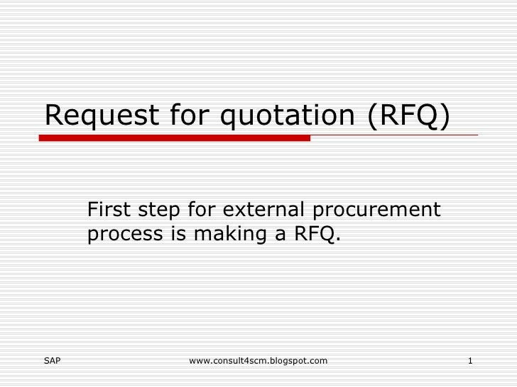 Request For Quotation Rfq
