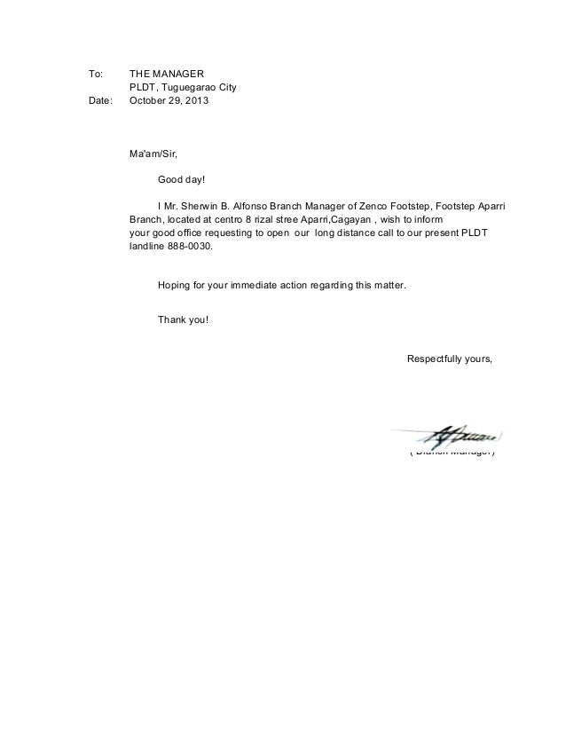 Request Letter. To: Date: THE MANAGER PLDT, Tuguegarao City October 29,  2013 Mau0027  Letters Of Request Format